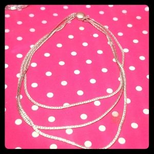 Vintage 3 layers silver Plated necklace